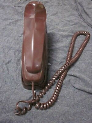 Vintage Rotary Dial Wall Brown Telephone Trimline AT&T BY WESTERN ELECTRIC