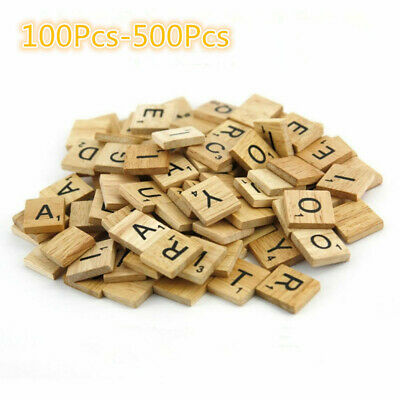 500* Wooden Letters Alphabet Scrabble Tiles Letters & Numbers For Game&Crafts AU