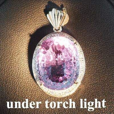Change Blue Purple Spinel Pendant Concave 23.40 Ct.sapphire 925 Sterling Silver