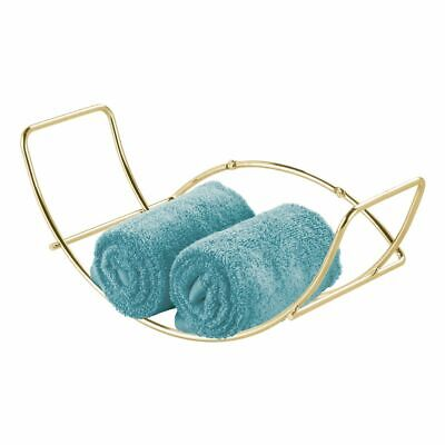 mDesign Modern Metal Bathroom Wall Mount Towel Rack Organizer - Soft Brass
