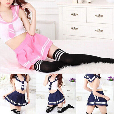 Lady Girls Japanese School Sailor Uniform Pleated Skirt Tops Cosplay Cute Wear