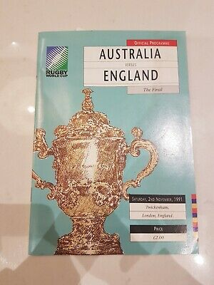 1991 RUGBY WORLD CUP FINAL - Australia v England programme
