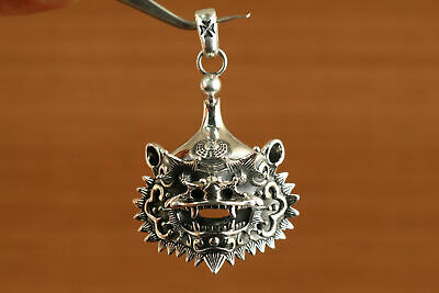 Solid Silver s925 hand carved kylin head statue pendant collectable gift