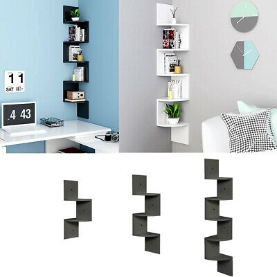 New Floating Wall Shelves Corner Shelf Storage Wood Display Bookcase Room Decor
