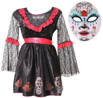 Girls Day Of The Dead Costume Halloween Fancy Dress Girls Outfit With Mask