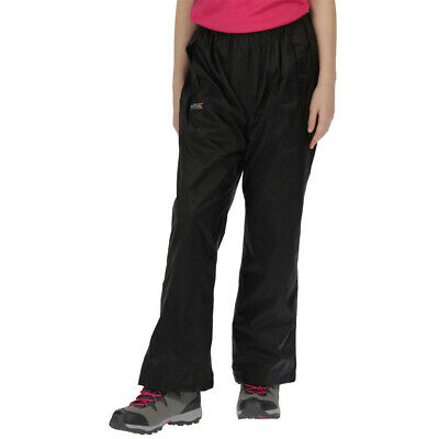 Regatta Junior Pack-It Kids Overtrousers Black Sports Outdoors Breathable