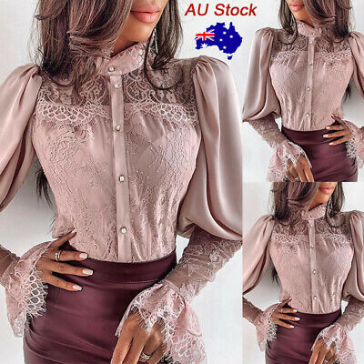 Women Slim Lace Buttons Shirt Ladies Casual OL Formal Long Sleeve Tops Blouse