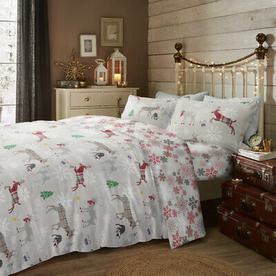 Fusion Garland Reindeer Christmas 100% Brushed Cotton Duvet Cover Set, Multi
