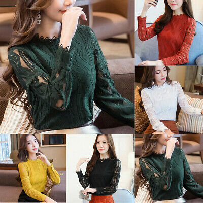 Womens Korean Lady Office Lace Striped Floral Long Sleeve Slim Work Shirt Blouse