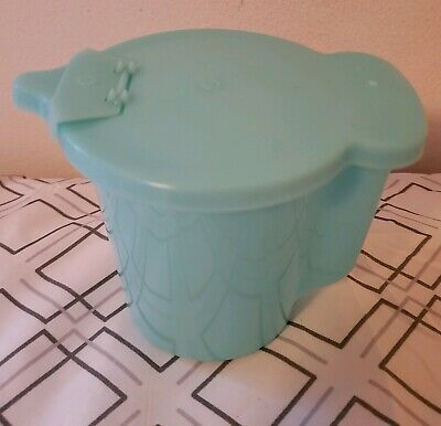 Vintage Tupperware Creamer Container Flip Top Aqua Ice Light Blue 574
