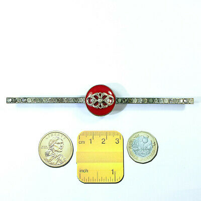 Unusual HUGE Length Antique Art Deco Silver Tone Red Glass Paste Brooch/Pin