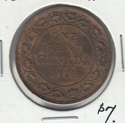 1918 Canada One Cent - Large Penny with lustre