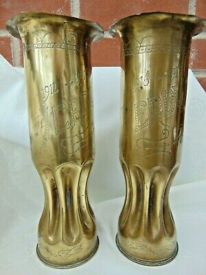 Pair Antique Wwi French 1914 - 1917 Trench Art Shell Case Vases Verdun