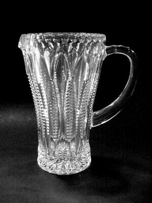 Imperial Pressed Glass: Juice Pitcher: Ribs And Fans: Mid Century Crystal Clear