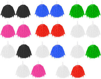 Pair Of Pom Poms Cheerleader Fancy Dress Accessory Dance Group Theatre Shows