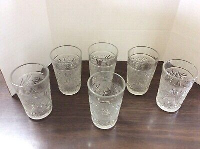 """Six Anchor Hocking Sandwich Glass Crystal Juice Glasses 3.5"""" Tall 1940's - 50's"""