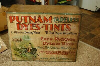 Putnam Fadeless Dyes-Tints retail sales cabinet in good condition for its age