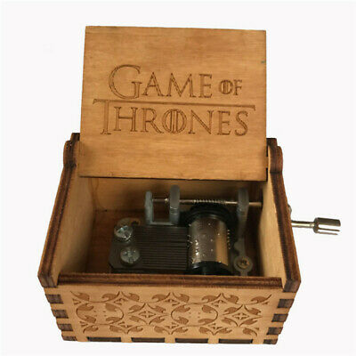 Game of Thrones Wooden Music Box Engraved Crafts  Christmas Gift Hand shake