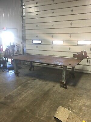 "120""x60-1/4"" Steel Shop Work Bench Welding Layout Table 1/2"" Steel Top W/ 2 Vise"