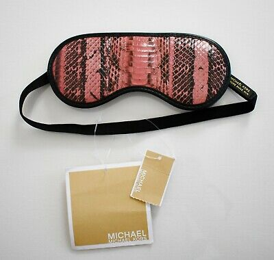 New MICHAEL KORS Pink Black GENUINE PYTHON Snakeskin SLEEP EYE MASK