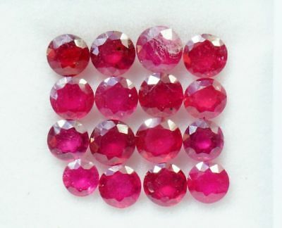 Natural Ruby 7.52 CTS Round Cut 4.5-5mm Lot 16 Pcs Red Shade Loose Gemstones GF