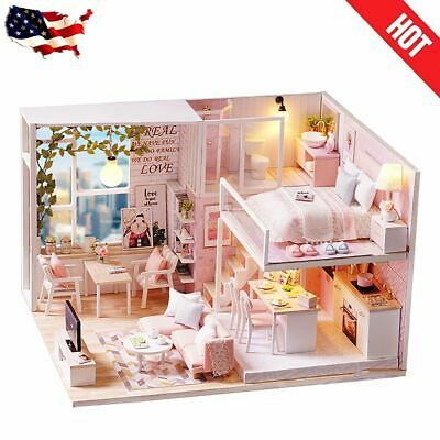 DIY Wooden Dollhouse Kit Miniature Furniture Pink Loft Apartment Doll House Gift