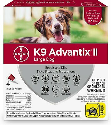 K9 Advantix II for Large Dogs 21-55 lbs - 4 Pack **New & Free Shipping**