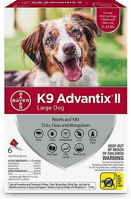K9 Advantix II for Large Dogs 21-55 lbs - 6 Pack **New & Free Shipping**
