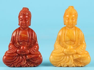 2 Spiritual Sitting Buddha Jade Hand Carving Necklace Pendant Statue Gift Old