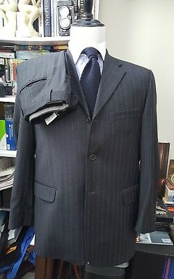 Enzo Tovare  Gray Pinstripe 3-Button Super 140s Wool Mens Suit 42R Made In Italy