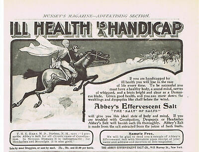 1901 Quack Medicine Abbey's Effervescent Salt Skeleton & man on horse Print Ad