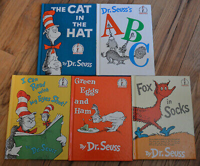 5 Dr. Seuss children's books lot Cat in the Hat Fox in Sox Green Eggs and Ham +