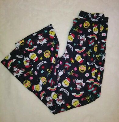 Justice Black Pajama Pants SZ 10 Christmas Holliday  Emoji Rainbow Santa Print