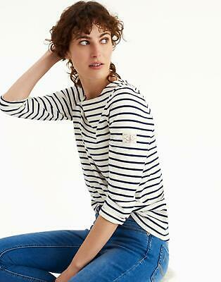Joules Womens Harbour Jersey Top Shirt in CREAM NAVY STRIPE Size 18