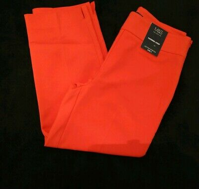 M&S Marks And Spencer Collection Cotton Stretch Tapered Crop Trousers BNWT UK 8