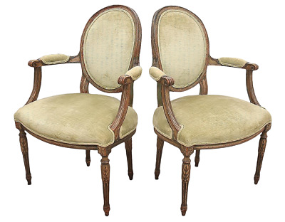 Late 18th Century Antique French Fauteuils- A Pair