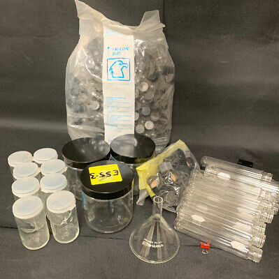 Misc. lab glassware, test tubes and jars + funnel