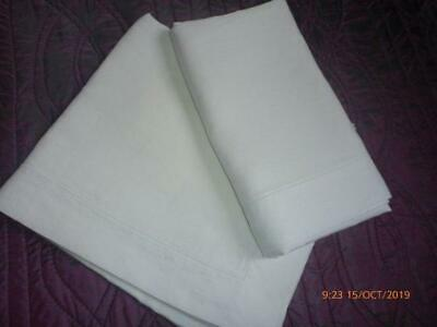 Pair Vintage Huge Linen Pillowcases Oxford Style