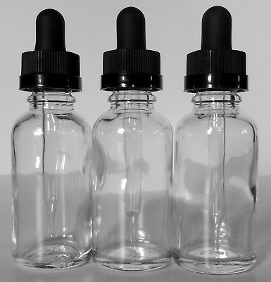 3 30 ml Glass Eye Dropper 1 oz Bottles-Childproof Cap Excellent Clean Condition