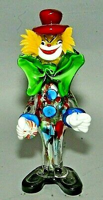"Vintage Italian Murano Multicolored Glass Clown Figurine w/ Red Top Hat 10"" Tall"