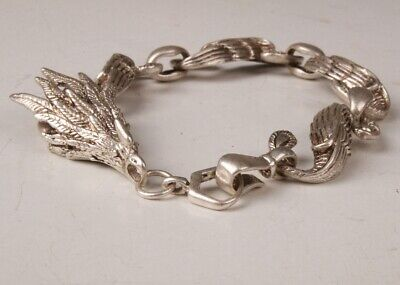 China Tibetan Silver Hand Carving Dragon Bracelet Auspicious Gift Collection Old