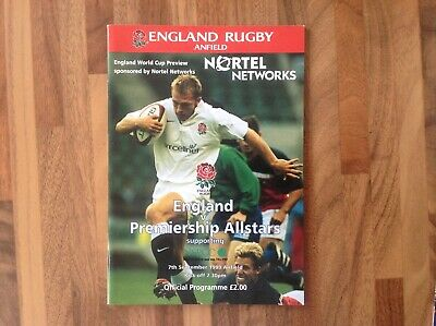 Rugby World Cup 1999 Preview Match Programme England V Premiership All Stars