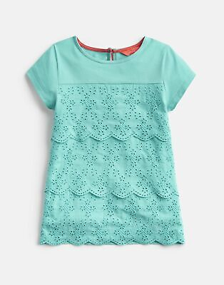 Joules Girls Brodie Broderie Detailed Top 3 12 Yr in TURQUOISE Size 11yrin12yr