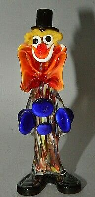 "Vintage Italian Murano Multicolored Glass Clown Figurine Blue Cymbals 10"" Tall"