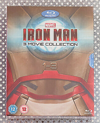 Blu-ray Iron Man 1-3 Trilogy 3 Movie Collection Box Set Marvel New and Sealed
