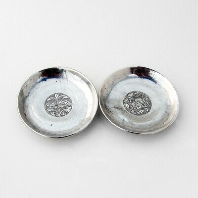 Chinese Silver Engraved Foliate Footed Dish Pair 1920