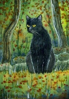ACEO Original Watercolor Painting Black cat.Autumn.