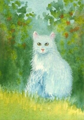 ACEO Original Watercolor Painting  Cat