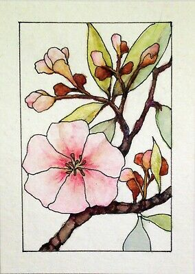 ACEO Original Watercolor Painting FIRST CHERRY BLOSSOM by W.Scholes, signed
