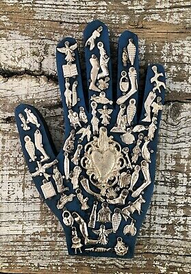 """Blue MILAGROS HAND Right Hand, Wood Hand with Charms, Mexican Folk Art 9"""" Mano"""